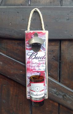 Budweiser Beer bottle wall opener by GlassNthings420 on Etsy