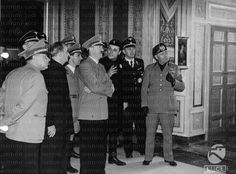 Adolf Hitler being received by Benito Mussolini, whom he admired greatly and emulated; in Italy-day 5-Rome-Visits to the Museum of the Baths, the Borghese Gallery, in Palazzo Venezia- 07.05.1938.