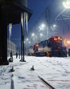 Servicing of EMD diesel-electrics, Shaffers Crossing, Roanoke, Virginia. 1960 [[MORE]] Photo by O. Diesel Locomotive, Steam Locomotive, Train Times, Train Pictures, Night Train, Old Trains, Train Tracks, Winter Scenes, Model Trains