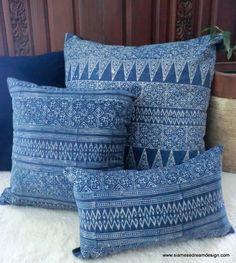 "20"" Hmong Natural Indigo Batik Decorative Pillow Cushion Cover. $38.00, via Etsy."