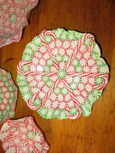 Candy bowls/plates~place parchment paper or lightly oiled foil on sheet pan, Arrange mints & bake at 350 for about 8-10 minutes. Cool for a few minutes until workable, invert onto lightly oiled bowl, or keep flat for platter. Let cool completely. Fill with christmas cookies or cake for a fun gift. Note: If wrapping with tissue paper make sure wax paper is between bowl/plate or it will stick like glue! Starlight mints and candy canes work very well.