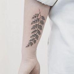 Fern tattoo by Hannah Nova Dudley #HannahNovaDudley #fern #plant #linework#delicate #plants (Photo: Instagram)