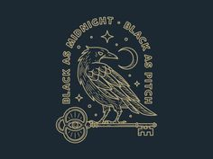 Midnight Raven by Chris Lago on Dribbble Witch Tattoo, Raven Tattoo, Crow Art, Raven Art, Raven Logo, Diy Cat Tree, Crows Ravens, Vintage Witch, Witch Art