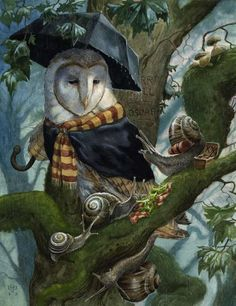 'Lovely Day For It' by Chris Dunn Illustration. It's a lovely wet day for the snails to have a picnic but, a passing barn owl couldn't disagree more. Art And Illustration, Watercolour Illustration, Fantasy Kunst, Fantasy Art, Chris Dunn, Fairytale Art, Owl Art, Woodland Creatures, Nocturne
