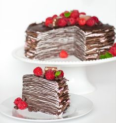 Layers upon layers of decadent chocolate crepes, dressed with raspberry mascarpone cream! This delicious chocolate cake is a chocolate lover's dream! Chocolate Crepes, Chocolate Raspberry Cake, Decadent Chocolate, Delicious Chocolate, Chocolate Chocolate, Chocolate Pudding, Cupcakes, Cupcake Cakes, Baby Cakes