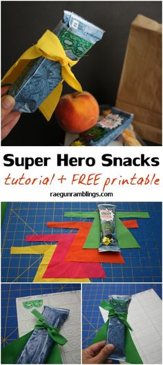 Easiest adorable super hero granola bars. fun kid activity with free printable  #MARVELSnackBar #Ad