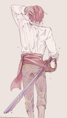 Young shanks drenched and with his sword Zoro One Piece, One Piece 1, One Piece Anime, Nico Robin, Fanarts Anime, Manga Anime, Noragami, Red Hair Shanks, One Piece English Sub