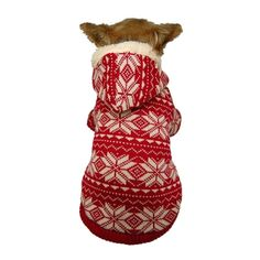 This Insten Red/ White Winter Snowflake Dog Hoodie features a knitted fabric with snowflake print.