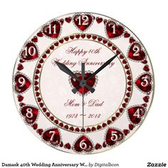 """Damask 40th Wedding Anniversary Wall Clock, Style: Round (Large) It's time to show off your favorite art, photos, and text with a custom round wall clock from Zazzle. Featured in two sizes, this wall clock is vibrantly printed with AcryliPrint®HD process to ensure the highest quality display of any content. Order this custom round wall clock for your walls or give to friends and family as a gift for a timeless treasure.  2 sizes: 8"""" diameter (medium) or 10.75"""" diameter (large). Material: Gra"""