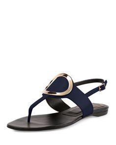 "Roger Vivier leather sandal. 0.5"" flat heel. Thong strap. Round golden buckle on vamp. Adjustable slingback strap. Made in Italy."