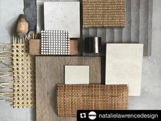 Pacific vibes from We love how this flatlay composition brings out the textures ✔️ . Interior Design Boards, Interior Design Inspiration, Moodboard Interior, Material Board, Design Palette, Colour Board, Decoration, Color Schemes, House Styles