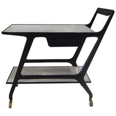 Black Lacquer Trolley by Ico Parisi Glazed Ceramic, Ceramic Vase, Table Furniture, Cool Furniture, Daybed Covers, Art Deco Chair, Mahogany Stain, Modern Dining Room Tables, Serving Table