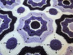 Lovely purples and blues in this crochet piece.