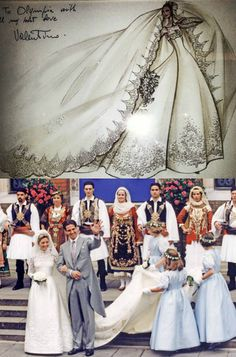 lovelymariechantal:  wedding of Marie-Chantal Miller and Crown Prince Pavlos of Greece with Valentino's sketch of her gown