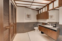 Modern Powder Room with European Cabinets, Slate tile counters, Drop-In Sink, Built-in bookshelf, Teagan Cabinets, Flush