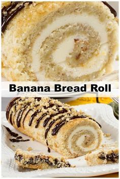 When you really want to impress your friends, make this cream cheese and vanilla-stuffed Banana Bread Roll. It looks great on a platter and tastes AMAZING. Cake Roll Recipes, Dessert Recipes, Picnic Recipes, Bread Recipes, Banana Roll, Banana Bread, Banana Bundt, Food Cakes, Cupcake Cakes