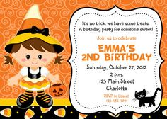 halloween party invitation candy corn witch halloween birthday party invitation you print or i print - Halloween Birthday Party