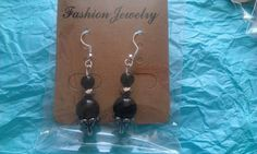 Tibetan silver and black beaded drops | Bronnley MISI Handmade Shop