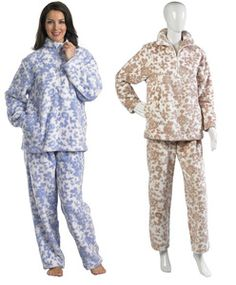 Ladies Slenderella Soft Thick Coral Fleece Floral Long Sleeved Pyjamas