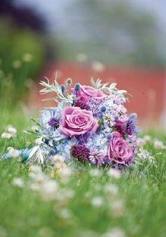 Gorgeous blue, pink & purple bouquet from www.dietzfallsflorist.com!