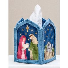 Mary Maxim - Holy Night Tissue Box Cover - Plastic Canvas Kits - Plastic Canvas - Crafts a use for the plastic canvas pieces in the classroom! simple design would be best Plastic Canvas Box Patterns, Plastic Canvas Stitches, Plastic Canvas Tissue Boxes, Plastic Canvas Crafts, Christmas Arts And Crafts, Christmas Nativity, Plastic Mesh, Plastic Canvas Christmas, Tissue Box Covers