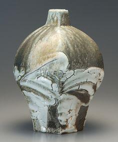 KEN MATSUZAKI Yohen Natural Ash Glaze Shino Vase, Stoneware