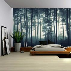 Landscape Mural of a Misty Forest Wall Mural Home Decor