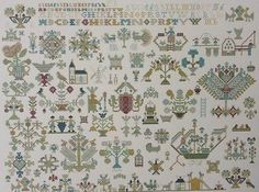 EXCEPTIONAL DUTCH ANTIQUE SAMPLER CROSS STITCH PATTERN CHART Friesland 1716
