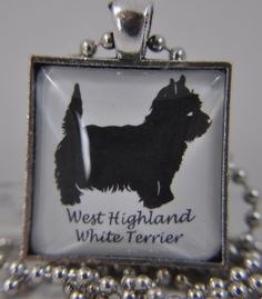 West Highland White Terrier Breed Glass Photo Art Pendant Necklace Pet Lover Jewelry