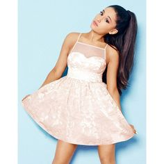 Ariana Grande For Lipsy Organza Prom Dress ($96) ❤ liked on Polyvore featuring dresses, floral prom dresses, floral cocktail dress, see through dress, cocktail prom dress and pink camisole