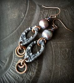 Primitive, Organic, Pewter, Inviciti, Silver, Rustic,Tribal, Pearls, Hoops, Grunge, Romantic, Beaded Earrings by YuccaBloom on Etsy