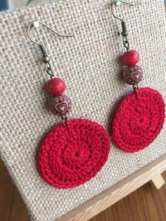 Queen of Hearts Earrings! For the love of red! They are the perfect accessory to compliment your outfit. ~Made with cotton thread, very comfortable to wear because of their light weight~ Get them for yourself or as a gift to a friend. ~Measurements~ 3 Long ****I include silicone
