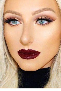 Start A Fire Wine Lips + Contouring + Highlight + Lashes + Brown Crease + Gold Eyelid Winter Makeup, Fall Makeup, Bronze Palette, Kyshadow Palette, Makeup Tips, Beauty Makeup, Makeup Ideas, Makeup Trends, Beauty Tips