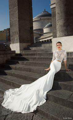 julie vino fall 2017 bridal half sleeves high neck heavily embellished bodice crop top elegant sophiscated sheath wedding dress v back chapel train (1202) mv