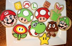 Decorated Mario Brother's Sugar Cookies by SweetLill on Etsy, $36.00