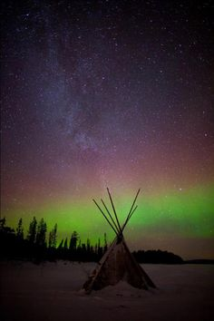 Antti Pietikainen took this image on Boxing Day 2011 next to the Pallas-Ylläs National Park in North West Finnish Lapland. It is a mild Aurora over a kota (a tepee is known as a kota in Finland). The stars were the only light and with -20°C, there was a crystal clear sky.