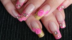 Pink & Gold Glam Nail Art With Acrylic 3D Roses - Tutorial
