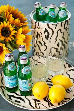 San Pellegrino, lemons and Sister Parish Design laminated entertaining essentials
