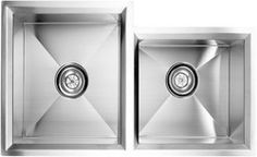 """fluid Point Kitchen Sink.  Model UDR3218S Undermount Double Bowl with Rim  Stainless Steel Kitchen Sink  Overall Size: 32"""" x 18"""" x 10"""""""