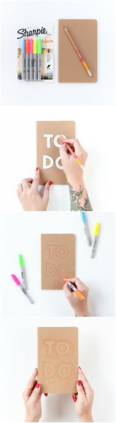 DIY Pointillism Notebook ~ I feel like this would be a nice way of writing labelling your school books instead of it just blending into your name and class Notebook Diy, Decorate Notebook, Do It Yourself Inspiration, Diy Inspiration, Fun Crafts, Diy And Crafts, Paper Crafts, Cool School Supplies, Back To School Crafts
