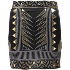 Boohoo Scarlett Aztec Design Scuba Mini Skirt ($10) ❤ liked on Polyvore featuring skirts, mini skirts, aztec print skirt, miniskirts, aztec skirt, women skirts and short skirts