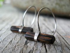 Wood and Silver Hoop Earrings