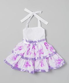 This Lele for Kids Lilac Floral Tiered Halter Dress - Toddler & Girls by Lele for Kids is perfect! #zulilyfinds