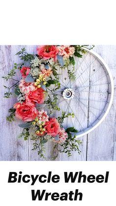Wreath Crafts, Diy Wreath, Flower Crafts, Bicycle Wheel Decor, Bike Wheel, Diy Spring Wreath, Spring Wreaths For Front Door Diy, Door Wreaths, Holiday Wreaths