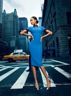 Jourdan Dunn by Patrick Demarchelier for Vogue (April 2012)  Editorial: The Victoria Line  Dress: Victoria Beckham Polo Dress (Fall 2012)  Heels: Louis Vuitton 'Merry-Go-Round' Pumps (Spring 2012)