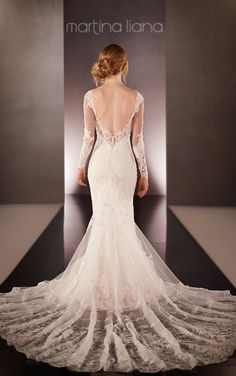 Illusion Back Wedding Dress | Martina Liana-- You can take the sleeves off of this one! Beautiful