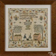 Silk on linen sampler, 19th c., wrought by Anne Garside, 17'' x 16 1/2''. - Price Estimate: $400 - $800