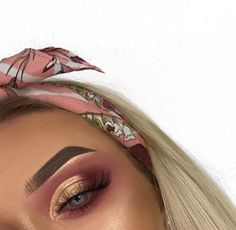 Pink cranberry eye shadow with golden inmer corner and lid. Golden brow highlight and #cute headscarf.