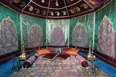 Wish to Sleep like an Arabian Princess, or ever dream of sleeping in an Arabian Theme Tent ? Look no further, the floor sleeping arrangement with throws, cushions and bolsters... Have a Good Night !