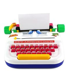 Love this My First Typewriter Toy on #zulily! this toy typewriter functions just like the real thing, but with a more convenient size and fun animal-adorned buttons.Includes typewriter, replacement ribbon and two 7.25'' x 5'' writing paper sheets     11'' W x 4'' H x 10'' D